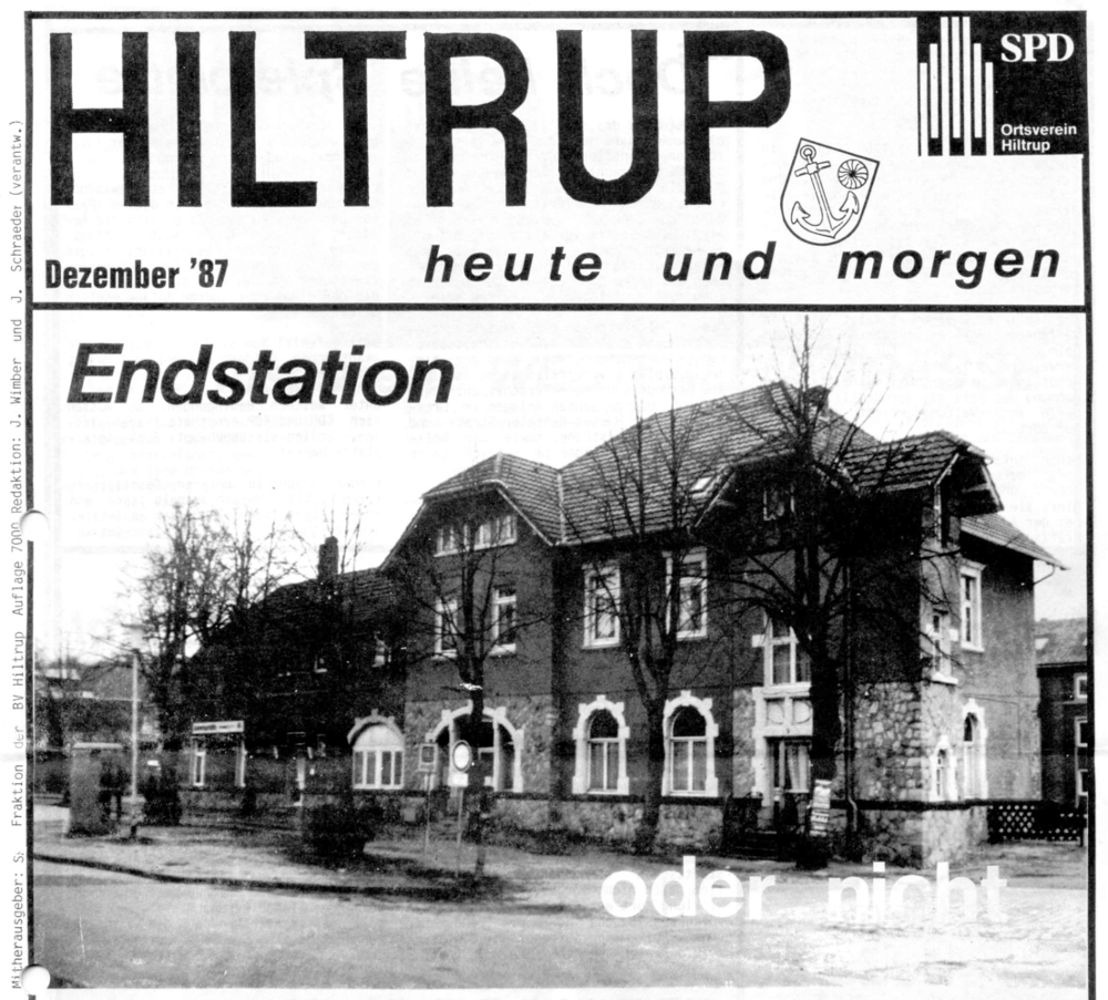 Hiltruper Bahnhof: Endstation oder nicht - Titelseite der SPD-Stadtteilzeitung von Dezember 1987