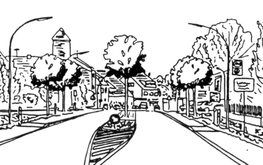 Umbau der Amelsbürener Straße: Vorschlag der SPD Hiltrup (SPD-Stadtteilzeitung Hiltrup heute und morgen, Ausgabe Dezember 1987)