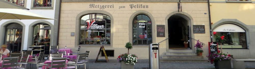 Stein am Rhein: Metzgerei zum Pelikan, Erdgeschoss (25.7.2018; Foto: Meyerbröker)
