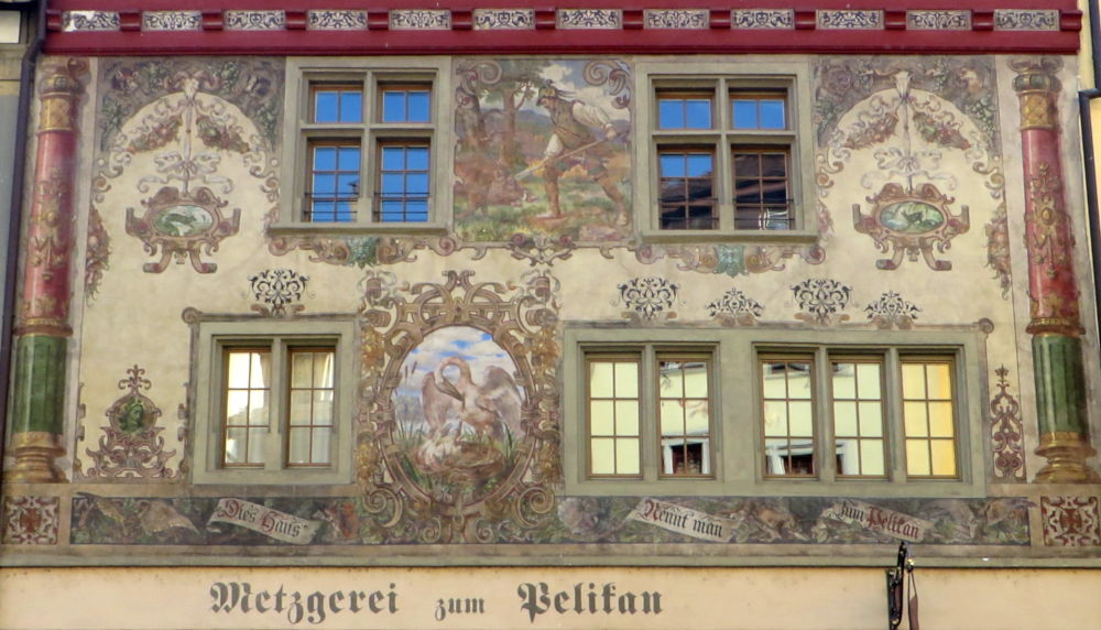 Stein am Rhein: Metzgerei zum Pelikan (25.7.2018; Foto: Meyerbröker)