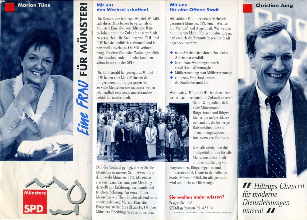 Flyer von Marion Tüns und Christian Jung zur Kommunalwahl 1994