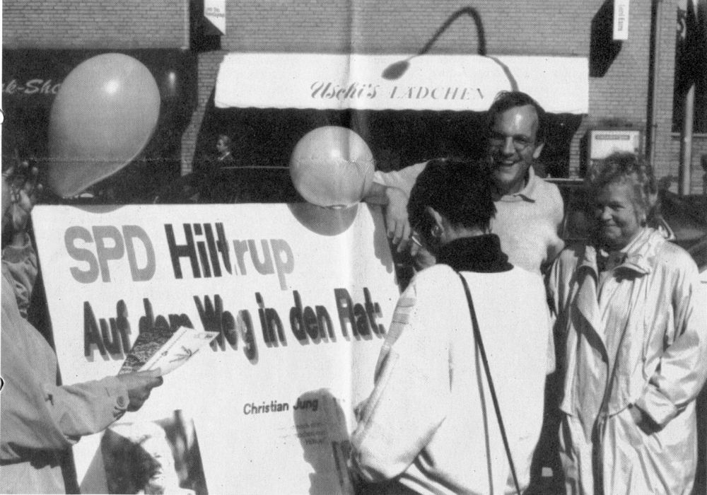 Kommunalwahlkampf Oktober 1994 in Hiltrup: Christian Jung und Christiane Eckardt auf der Marktallee