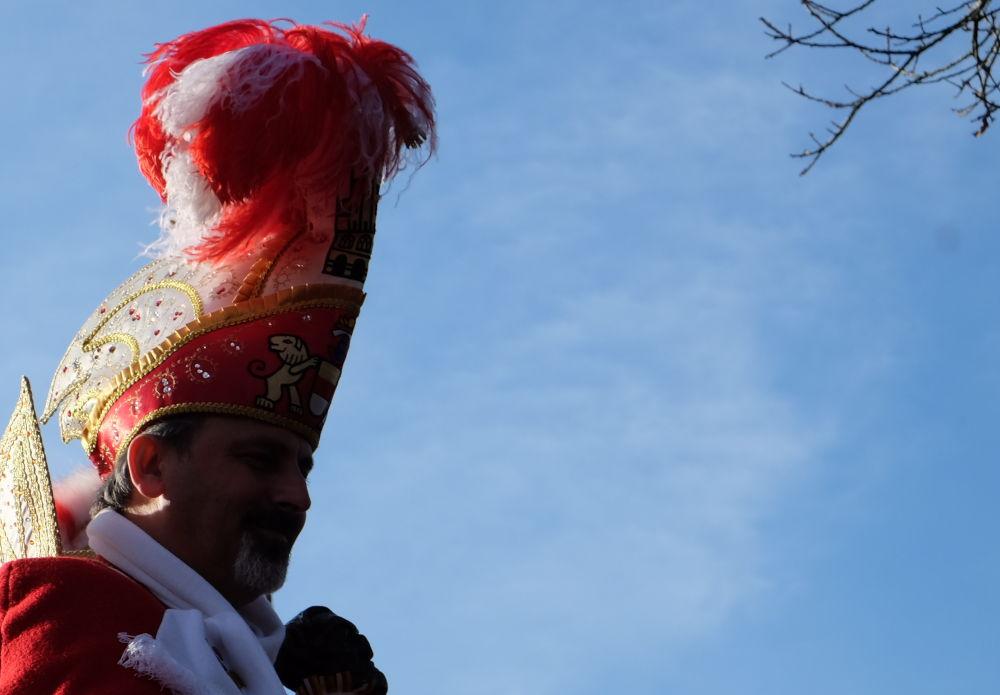 Karnevalsumzug 2019: Hoch auf dem bunten Wagen (23.2.2019; Foto: Klare)