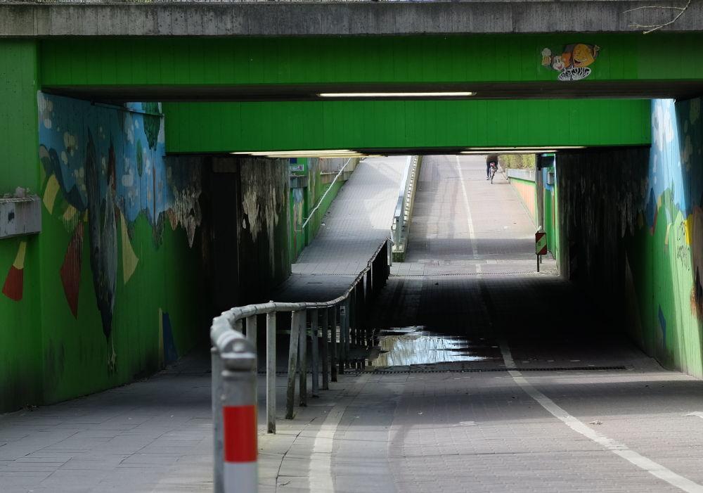 Die Unterführung am Hiltruper Bahnhof: Hier staut sich das Wasser (24.3.2019; Foto: Klare)