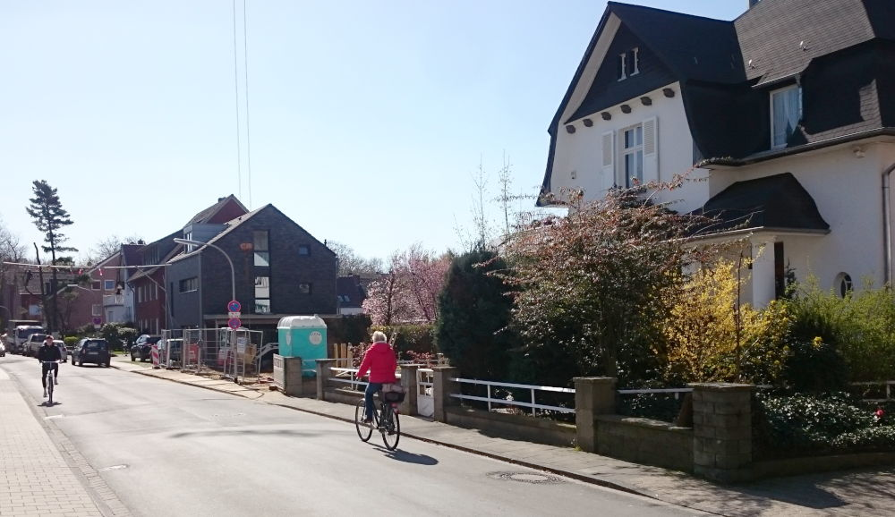 Am Klosterwald 2019: Baustellen und Neubauten, auch der letzte Baum links im Foto ist inzwischen verschwunden (1.4.2019; Foto: Klare)