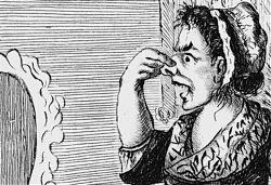 Illustration von Henry William Bunbury (London, 1773) zu dem Roman Tristram Shandy  - Ausschnitt