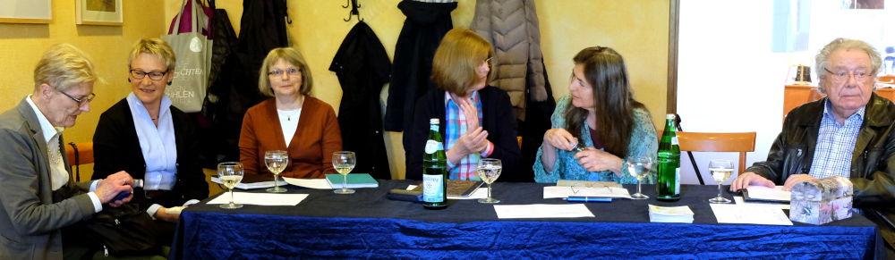Die VorleserInnen (9.4.2019 bei Klostermann; Foto: Klare)