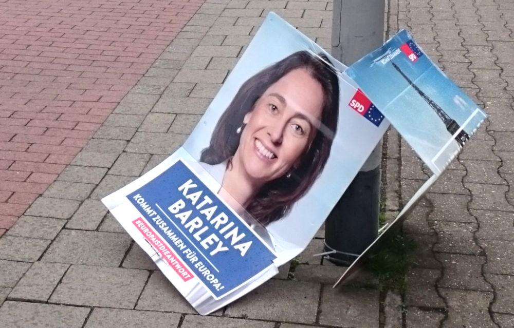 SPD-Plakat an der Hohen Geest (29.4.2019; Foto: Klare)