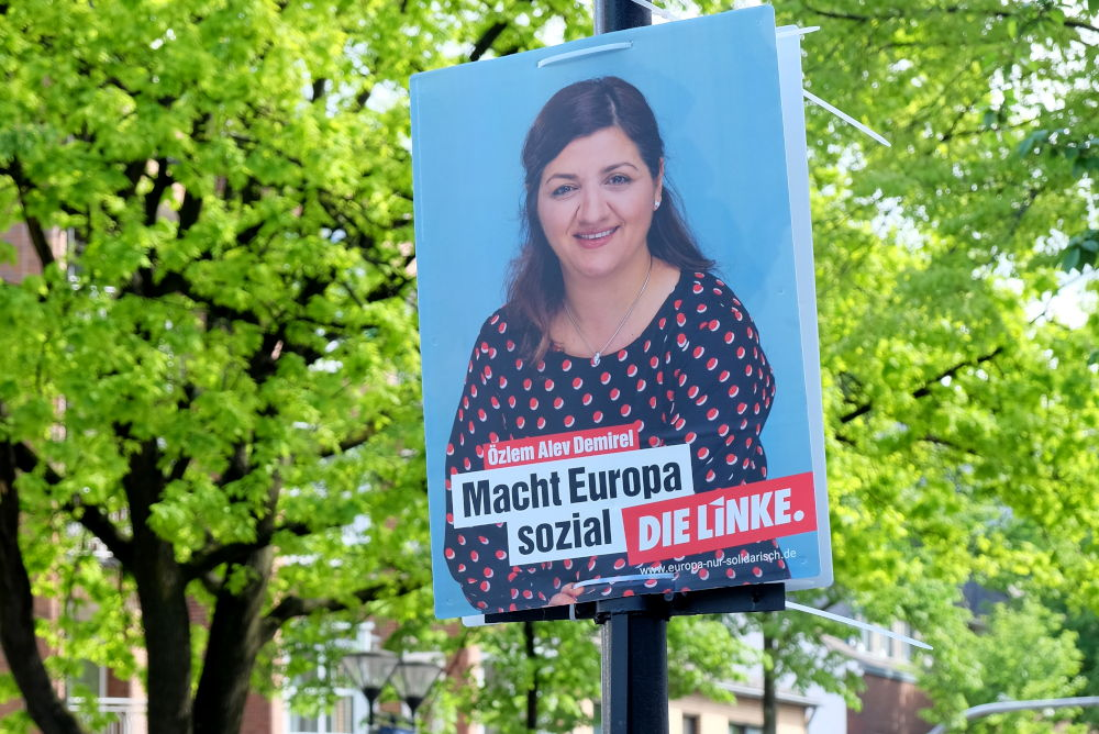 Europa-Wahlplakat der Linken auf der Marktallee (4.5.2019; Foto: Klare)