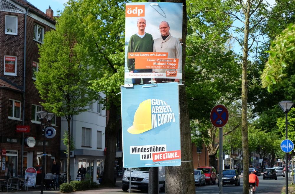 Europa-Wahlplakat der ödp auf der Marktallee (4.5.2019; Foto: Klare)
