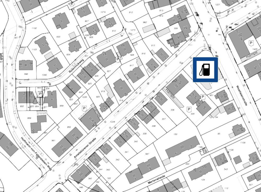Amelsbürener Straße: Hier will ein Investor den Verkehr von seinen Häusern fernhalten (Plan: https://geo.stadt-muenster.de; bearbeitet)