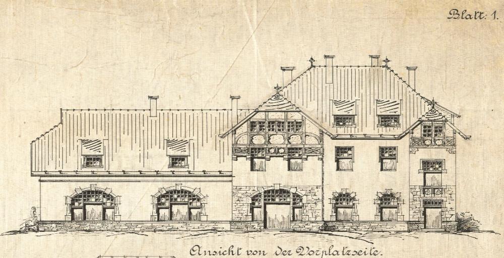 """Königliche Eisenbahndirektion Münster i.W.: """"Entwurf über die Erbauung eines Empfangsgebäudes auf Bahnhof Hiltrup"""" vom 16.4.1907 (Landesarchiv NRW Abteilung Rheinland)"""