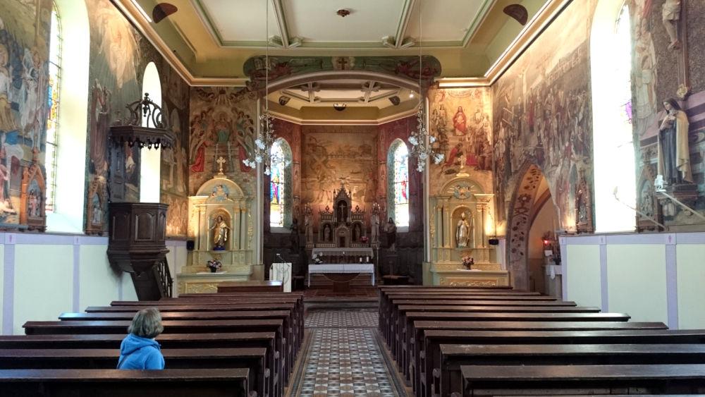 Innenansicht der Kirche von Guermange (19.9.2019; Foto: Klare)