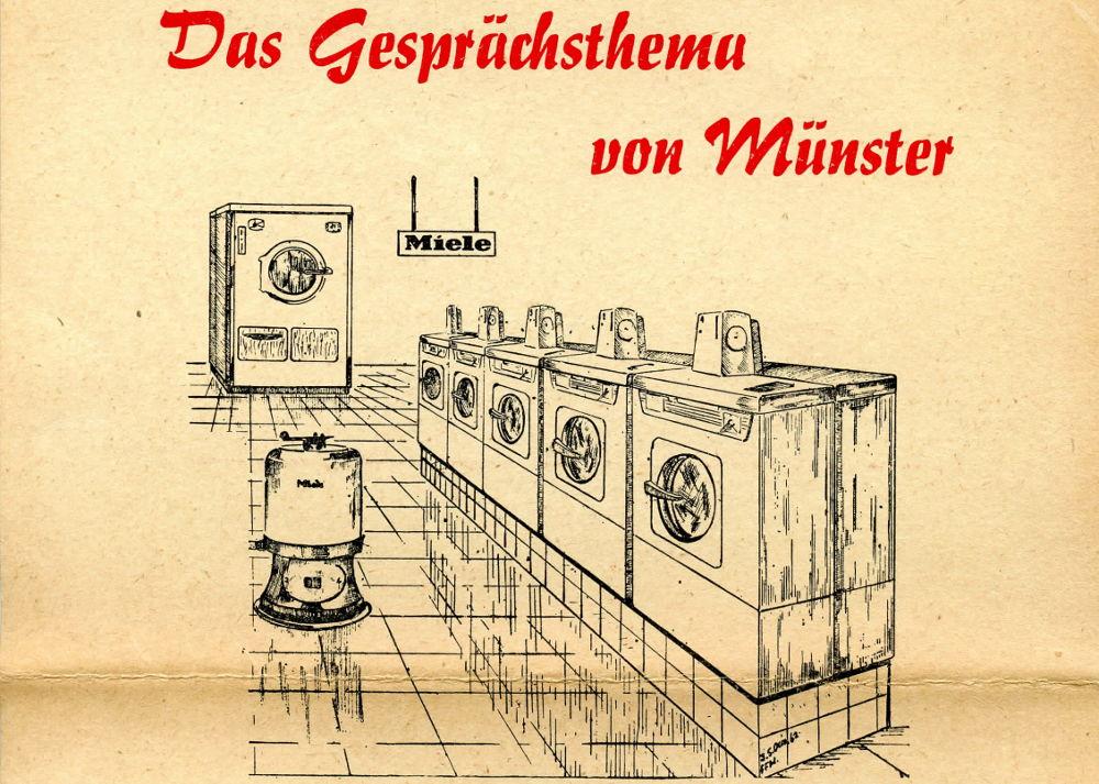 """""""Die weltberühmten Miele-Waschautomaten"""": Werbung des Selbstbedienungs-Münz-Waschsalons Inh. Alfred Kösters, Münster, Kettelerstr. 27 (1960er Jahre)"""