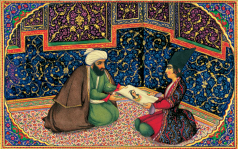 Sani ol-Molk, Illustration zu einer persischen Ausgabe von 1001 Nacht, Mitte 19. Jahrhundert