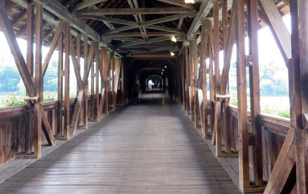 Der historische Weg über den Rhein (Rheinbrücke Bad Säckingen, 6.7.219; Foto: Meyerbröker)