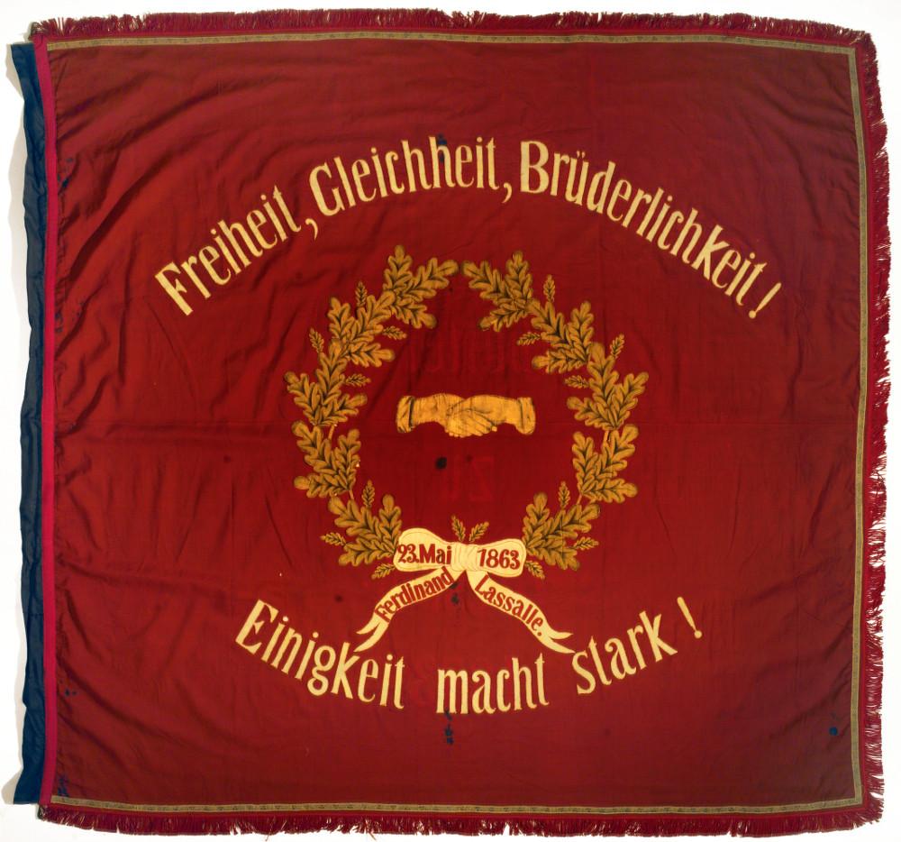 Fahne zum 10. Jahrestag der ADAV-Gründung, 23. Mai 1873 © AdsD der Friedrich-Ebert-Stiftung