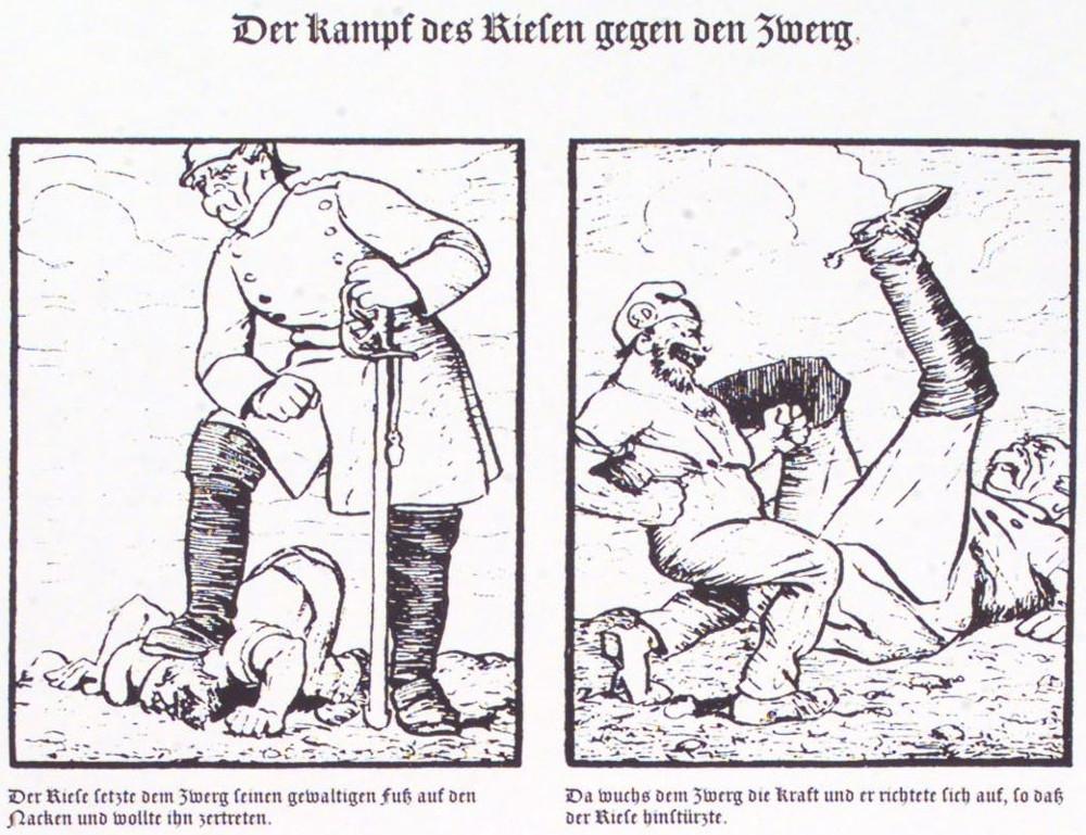 """""""Der Kampf des Riesen gegen den Zwerg"""" (Karikatur von 1875: Bismarck gegen Arbeiter) © AdsD der Friedrich-Ebert-Stiftung"""