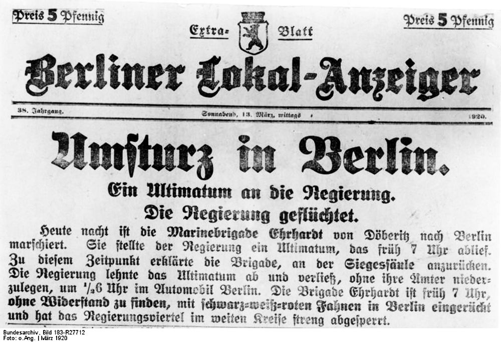 Kapp-Putsch: Zeitungsbericht vom 13.3.1920 (Bundesarchiv, Bild 183-R27712 / CC BY-SA 3.0)