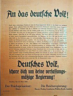 Kapp-Putsch: Aufruf von Reichspräsident und Reichsregierung am 13.3.1920