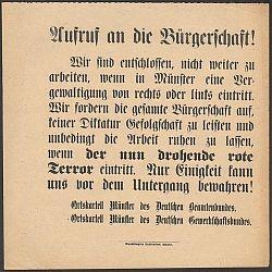 Münster: Streikaufruf von Beamtenbund und christlichen Gewerkschaften im März 1920