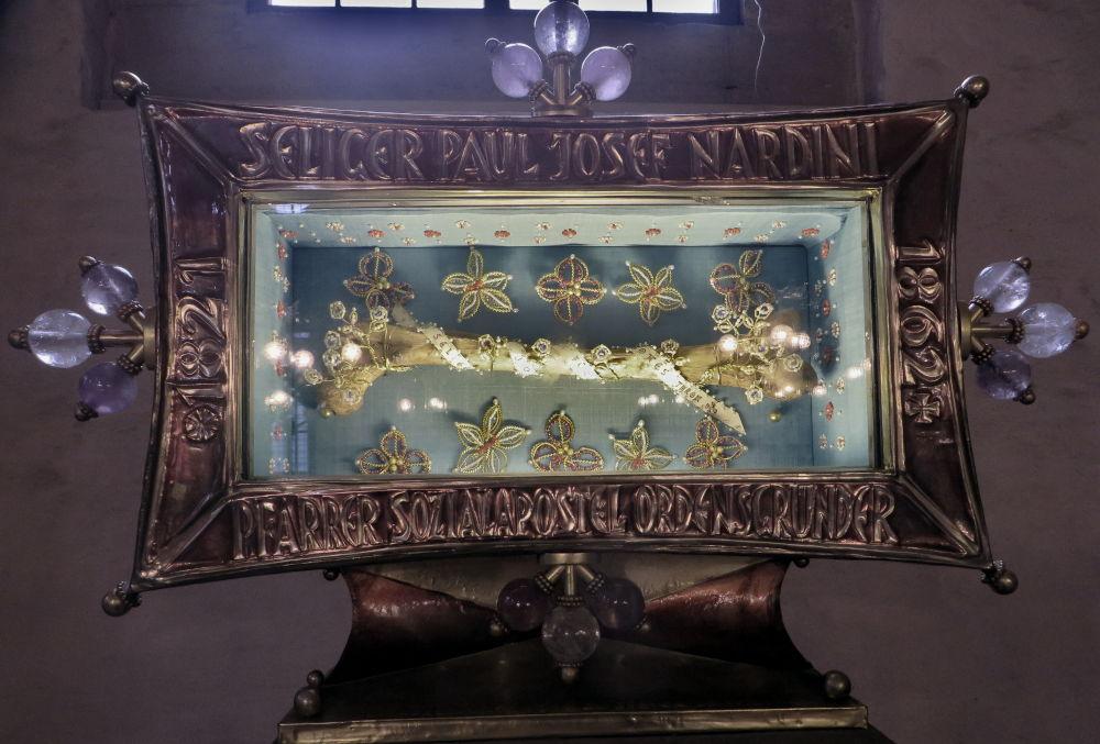 Reliquie des seliggesprochenen Nardini (Speyerer Dom, 14.7.2019; Foto: Meyerbröker)