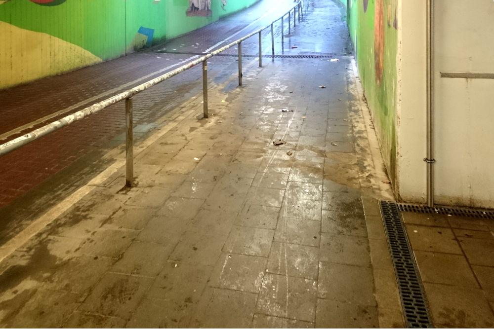 Hiltruper Bahnhofstunnel: Nach einem Jahr trocken gelegt (8.3.2020; Foto: Klare)