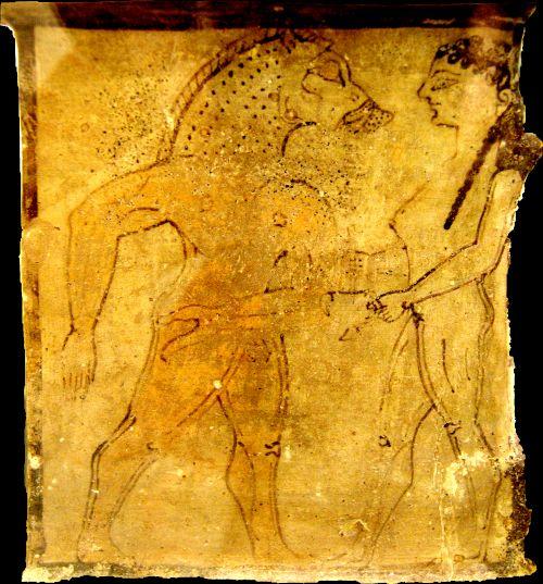 Ein Gefährte des Odysseus wird von Kirke in ein Schwein verwandelt (antike Darstellung)