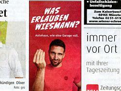 Inserat des Autohauses Wiesmann in den Westfälischen Nachrichten (27./28.6.2020)