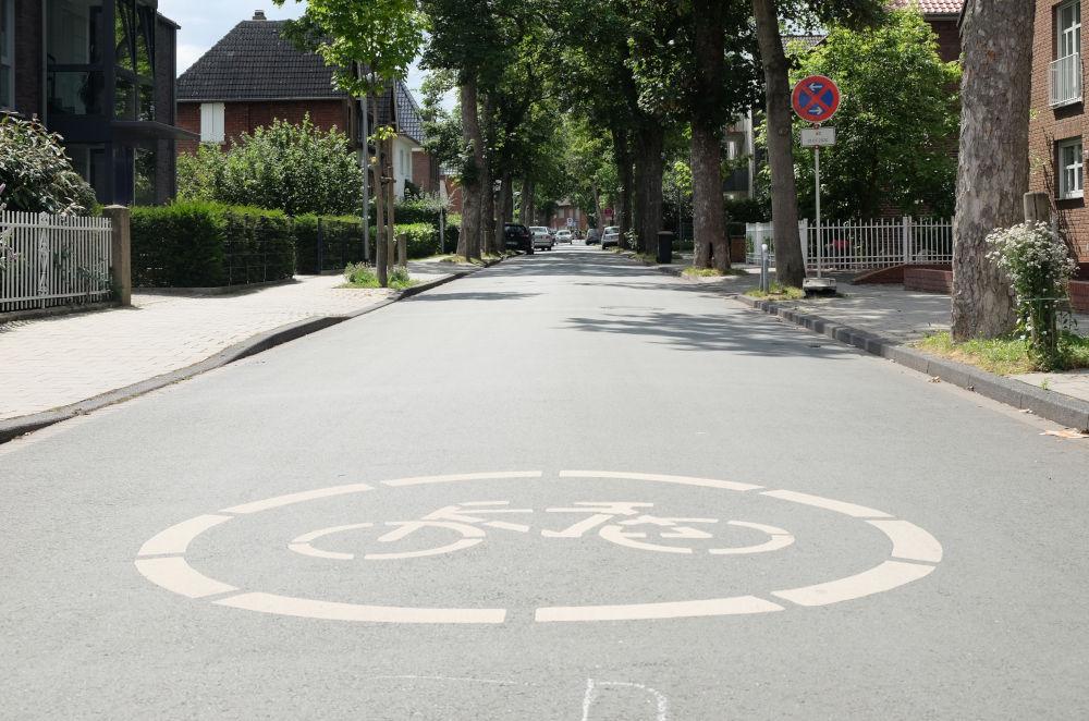 Zu übersehen? Piktogramm auf der Max-Winkelmann-Straße (29.6.2020; Foto: Klare)