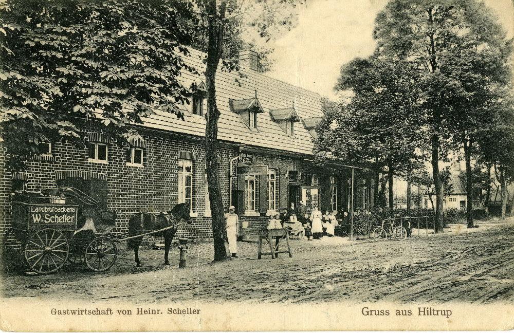 Um 1900 war die heutige Westfalenstraße in Hiltrup vor dem Gasthof Scheller ein Sandweg ohne Pflasterung (historische Postkarte zur Verfügung gestellt von Herrn Stoffers)
