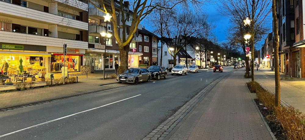 Haupteinkaufsstraße? (Marktallee Hiltrup, 21.1.2021; Foto: Henning Klare)