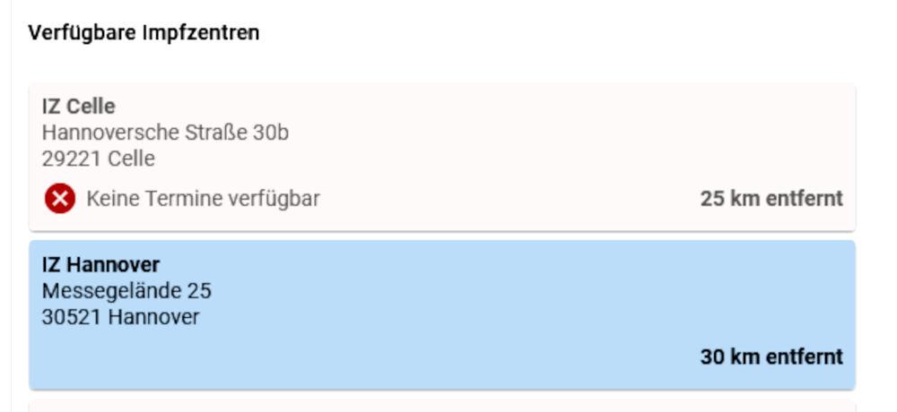 In die Irre geführt: Auch für das Impfzentrum Hannover gibt's keine Termine (1.2.2021, Quelle: www.impfportal-niedersachsen.de)