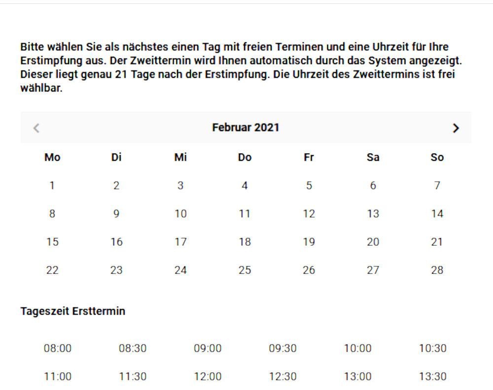 Viele Kalendertage, aber keine Terminangebote (1.2.2021; Quelle: www.impfportal-niedersachsen.de)
