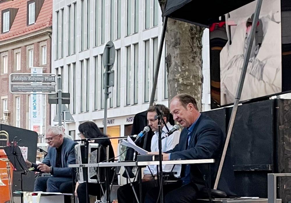Helmut Bunter, Anja Kreysing, Carsten Bender, Marcell Kaiser (v.l., 30.7.2021; Foto: Henning Klare)