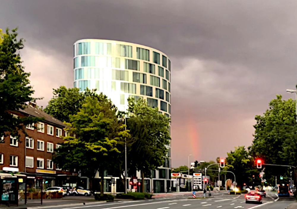 Unheil droht (Münster, Hammer Straße, 30.7.2021; Foto: Henning Klare)