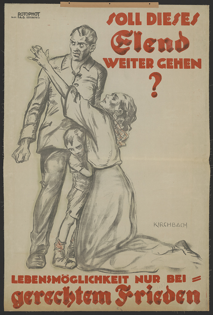 """Plakat von 1920: """"Lebensmöglichkeit nur bei gerechtem Frieden"""" (Quelle: Library of Congress / http://www.loc.gov/pictures/item/2004665980/)"""