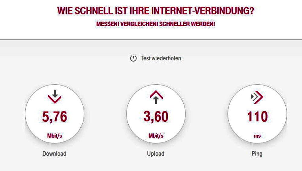 Messen! Vergleichen! Schneller werden! - 16 MBit im Download laut Vertrag, 5 MBit tatsächlich (Speedtest der Telekom, 20.6.2017; telekom.de/speedtest)