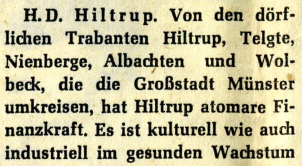 """Aus einem Zeitungsartikel """"Hiltrup in der Gärung"""" vom 2.4.1960."""