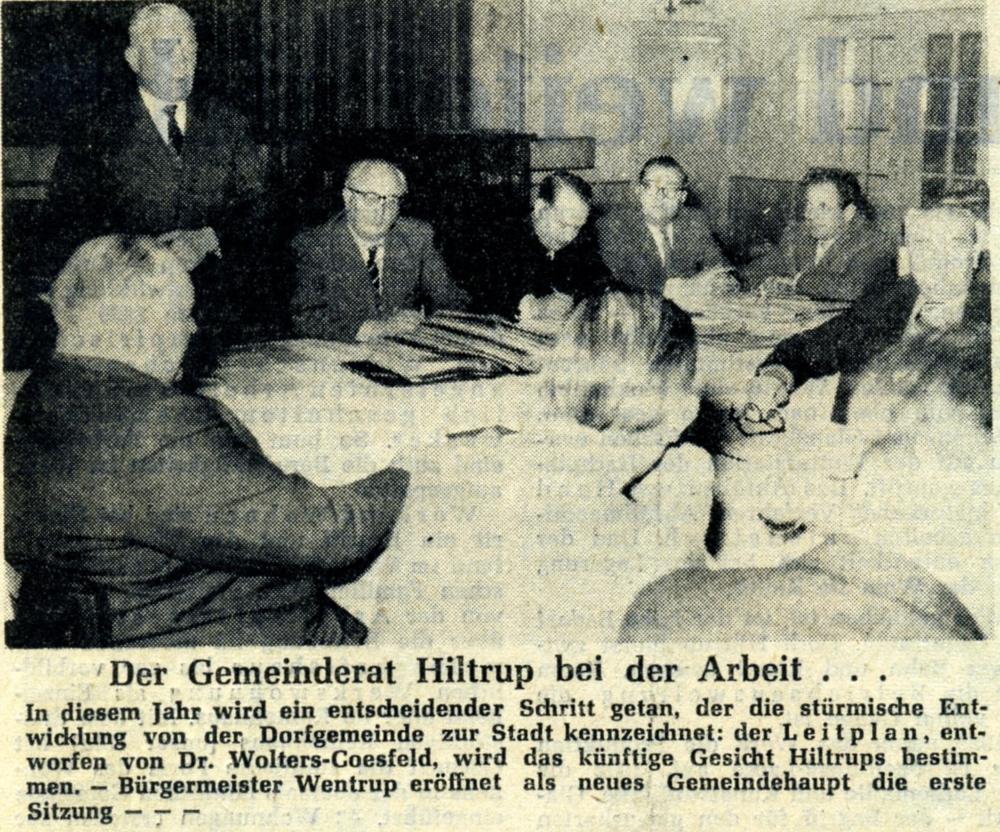 Zeitungsbericht vom 2.4.1960: Der Gemeinderat bei der Arbeit (Bürgermeister: Mühlenbesitzer Ludger Wentrup)