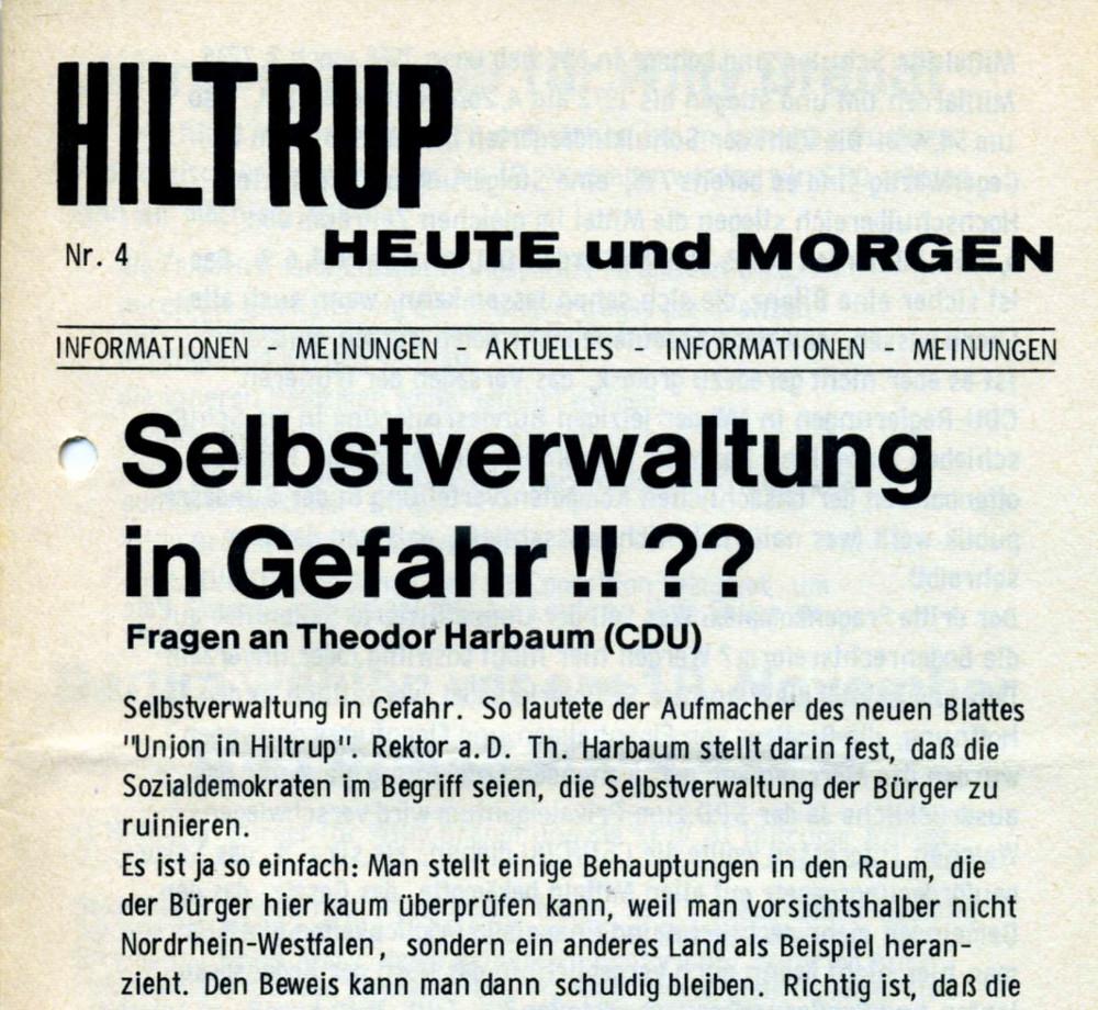 """Ab 1971 gab die Hiltruper SPD eine eigene Stadtteilzeitung heraus: """"Hiltrup heute und morgen"""""""