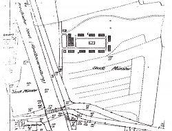 """Lageplan des Lagers """"Waldfrieden"""" in Hiltrup am Kanal / Osttor (26.8.1941, mit Baracken, noch ohne Bunker)"""