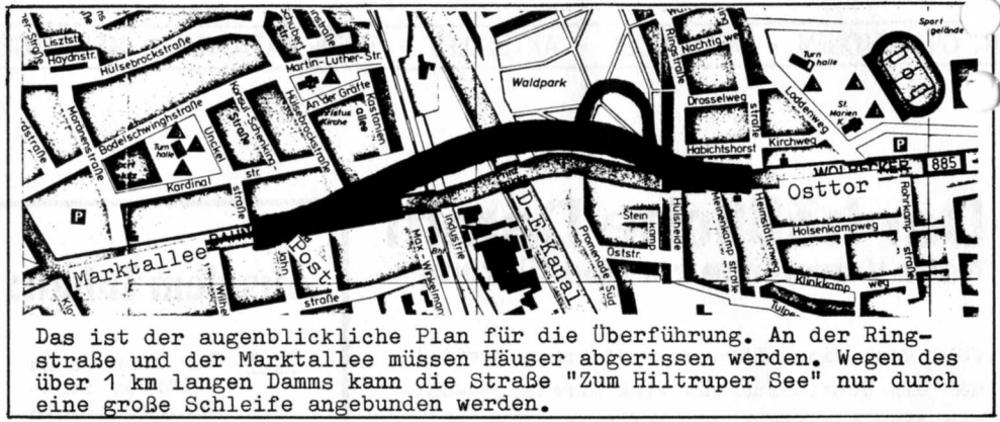 Planung der neuen Kanalbrücke Hiltrup (1976; aus: Hiltrup heute und morgen Nr. 9, Juli 1976)