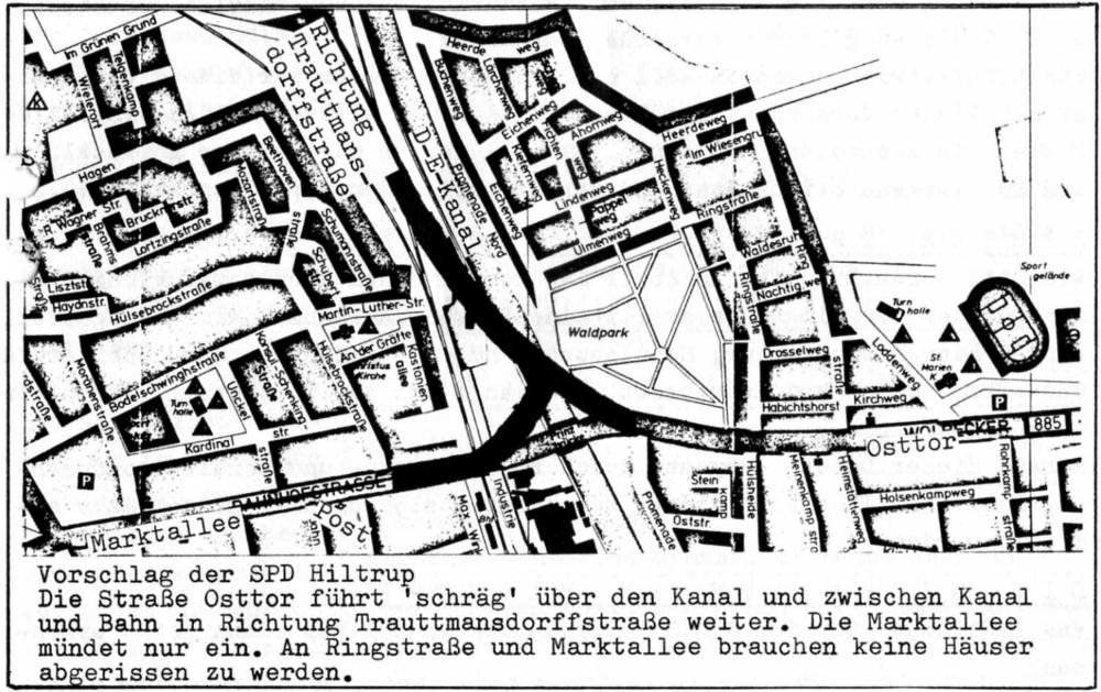 Planung der neuen Kanalbrücke Hiltrup: Alternativvorschlag der Hiltruper SPD (1976; aus: Hiltrup heute und morgen Nr. 9, Juli 1976)