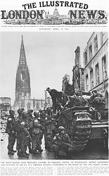little more than a heap of rubble, kaum mehr als ein Haufen Geröll: amerikanische und englische Soldaten Anfang April 1945 auf Münsters Prinzipalmarkt