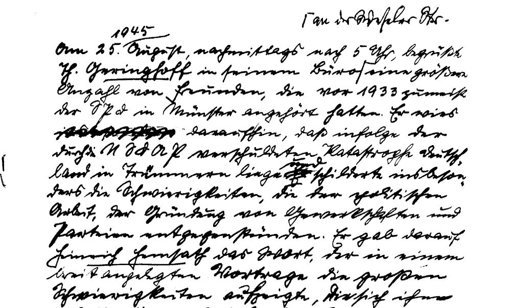 Protokollbuch der SPD Münster: Treffen am 25.8.1945 bei Th. Geringhoff (Ausschnitt)
