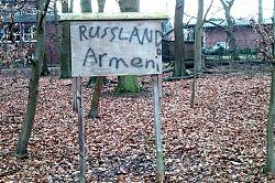 Russland Armeni - das Schild am Hiltruper Kanal gibt Rätsel auf (23.1.2018; Foto: Klare)