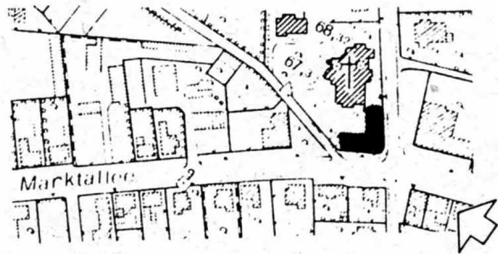 Entwurf des Bebauungsplans zur Bebauung des St. Clemens-Kirchplatzes (1982)