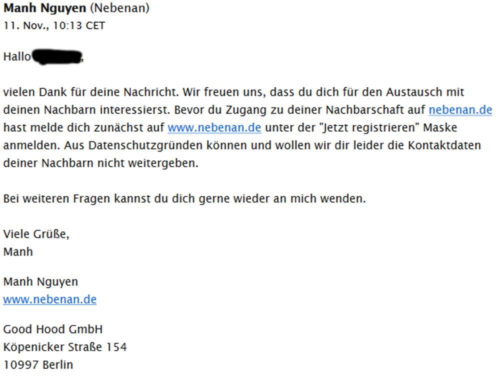 """Antwort von nebenan.de auf die Kontaktanfrage zu """"Stephan und Alexandra aus der Bodelschwinghstraße"""" (11.11.2016)"""