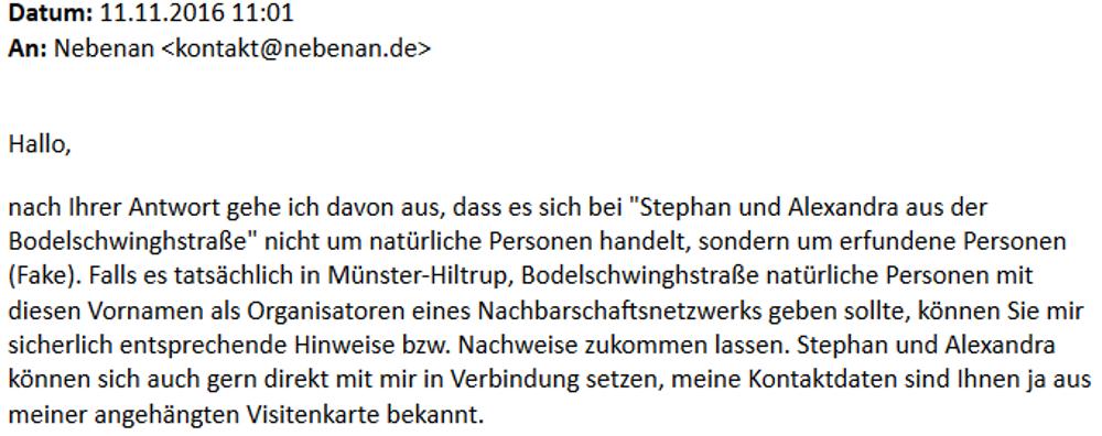 """Nachfrage per Email an nebenan.de zu """"Stephan und Alexandra aus der Bodelschwinghstraße"""": Aufforderung zur Kontaktaufnahme (11.11.2016)"""